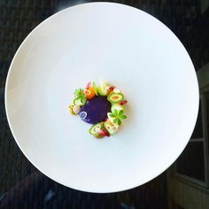 """437 Likes, 12 Comments - Army of Chefs (@army_of_chefs) on Instagram: """"Melons, purple okinawa sweet potato, green almond, pickled ramps, apple kurozu, pistachio by…"""""""