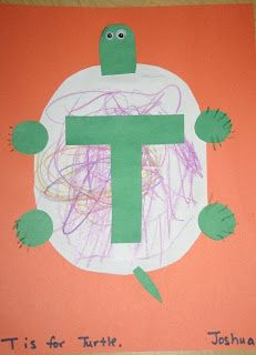 """Today we started our study of the letter """"T"""" by doing some turtle themed activities. I was so thankful that my son was able to join us for preschool this morning. He is doing much better today.  We started our morning by reading the bookTurtle Splash!: Countdown at the Pond by Cathryn Falwell. This...Read More »"""