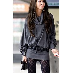 Women's Cowl Puff Sleeve T-Shirt(Belt Not Include) – USD $ 18.99