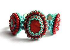 Turquoise coral bracelet bead embroidered by MoonsafariBeads, $97.00