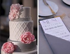 The Couture Cakery - Art Deco, quatrefol wedding cake, silver and white modern art deco cake with pink peony accent flowers