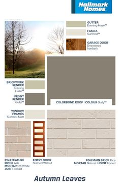 Reminiscent of the beautiful rustic hues of an Australian Autumn, this muted colour scheme will never be out of style. Roof Colors, House Colors, Entry Doors, Garage Doors, Colorbond Roof, Hallmark Homes, Brickwork, Window Frames, Color Tile