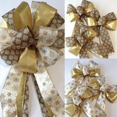 Your place to buy and sell all things handmade Outdoor Christmas Wreaths, Christmas Tree Bows, Gold Christmas Decorations, Christmas Tree Toppers, Xmas, Diy Bow, Diy Ribbon, Making Bows For Wreaths, Gold Tree Topper