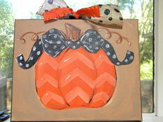 8x10 Hand Painted Canvas with Pumpkin by muraldevotee on Etsy, $28.95