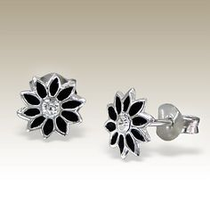 Flower ear studs with crystal stones - Finishing: E-coat 925 Sterling silver Design from Bangkok925.com  Dimensions:  0.8x0.8cm.  nice Silver Children Ear Studs at $1.97