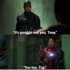 *Sobs* *chokes on sobs and dies* Collateral Damage, Team Cap, Good To See You, Stony, Marvel Movies, Bucky, Depressed, Captain America, Iron Man