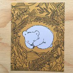 Prints & posters in the shop! Printed on 300 grams biotop recycled paper. https://www.etsy.com/nl/shop/anjamulder #polarbear #beertje #sleeping #cub #polarcub #beer #bear #nest #resting #sleep #slaap #animal