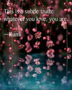 "Rumi  ""...whatever y ou love, you are...."""