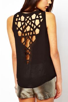 Black Cut-Out Top