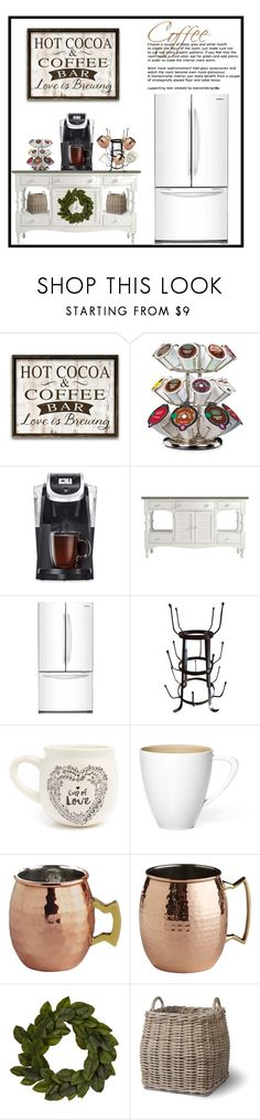 """CoffeeBar-Decor"" by doragutierrez ❤ liked on Polyvore featuring interior, interiors, interior design, home, home decor, interior decorating, Keurig, Stanley Furniture, Samsung and Natural Life"