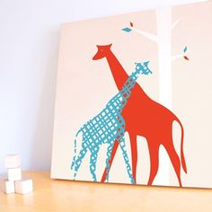 20x20 Giraffe Canvas - Bright Red and Blue
