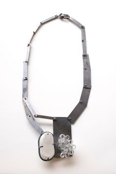 Moonstone, borosilicate glass, oxidized silver necklace by Karen Gilbert. Gallery Lulo.