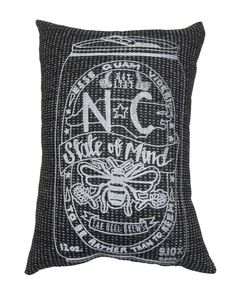 """Hand Printed on Upcycled Fabric Gold """"NC State of Mind Beer"""" an Original Design Hand Sewn Pillow with Dried Lavender Flowers in the Stuffing #Beer #NC State #upcycledfabric #lavender #recycledpolyfil #beerpillow #NorthCarolina #NCPillow #pillow"""
