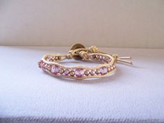 Light Amethyst and Gold Pearl Beaded Wrap Bracelet