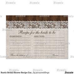 Rustic Bridal Shower Recipe Cards, Burlap & Lace Card