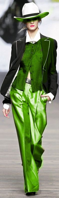 I would not wear them together, but aside from the hat, I need ALL OF THAT.  Green - Mariella Burani (gold) | The House of Beccaria~