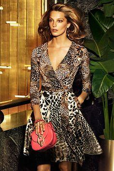 Dvf Amelia Silk Combo Flared Wrap Dress Diane von Furstenberg Amelia