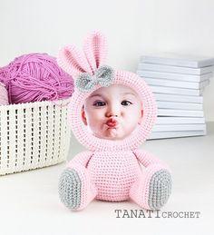 Crochet Amigurumi Rabbit Design Crochet Pattern of Photo Frame BUNNY Tutorial PDF file - Crochet Toys Patterns, Stuffed Toys Patterns, Crochet Crafts, Crochet Dolls, Crochet Designs, Crochet Projects, Foto Frame, Crochet Rabbit, Sport Weight Yarn