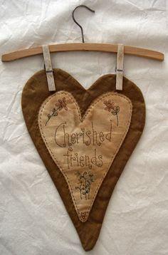 cherish heart/////primitive country decor decorating