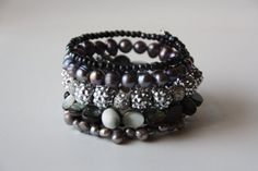 Wire wrapped beaded bracelet Black Silver by EverydaySisters, $45.00
