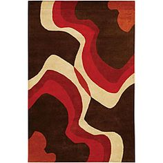 @Overstock - This Mandara rug features a hand-tufted wool construction and soft 0.75-inch pile. This brown rug features a bold geometric design with accent colors of red, orange and ivory.http://www.overstock.com/Home-Garden/Hand-tufted-Mandara-Brown-Wool-Rug-79-x-106/5088118/product.html?CID=214117 $381.99