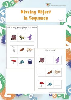 Missing Object in Sequence (Visual Sequential Memory Worksheets) Learning For Life, Visual Learning, Learning Activities, Worksheets, Short Term Memory, What Is Miss, Action Words, Visual Memory, Gross Motor Skills