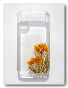 iPhone 4/4S case Resin with Real Flower rape by Annysworkshop, $18.00