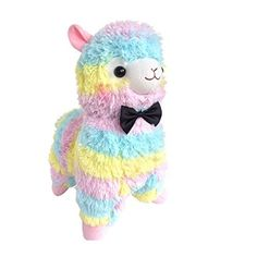 17 Cute Bow Tie Series Rainbow Alpaca Plush Toy Soft Stuffed Animal Doll Wedding Xmas Christmas Birthday Valentine Gift ** Click on the image for additional details.