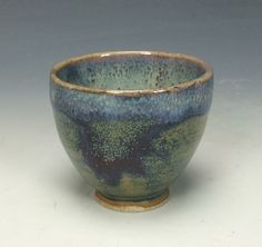 Blue-Green Lavender Purple Cream and Brown Ceramic Tea or Sake Cup, Unique Large Shot Glass, Mini Wine Cup, Yunomi, Guinomi, Tiny Handless by PranaPottery on Etsy