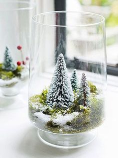 Make a Winter Wonderland out of a simple glass vase! Directions: Arrange sheet moss in the bottom of a vase and top with bottle brush trees, holly and ornaments of your choice. Dust with fake snow.