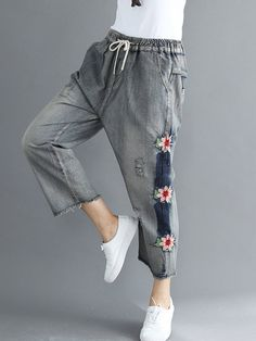 d6243a8b94e Floral Embroidered Patchwork Drawstring Casual Jeans is a trendy, Newchic  provides wide range of best cheap Denim & Jeans for you.