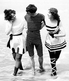 Circa 1900s friends in bathing suits enjoying a day at the beach.  Original text in French:  messieurs 1900 - L'Atelier de Jojo.