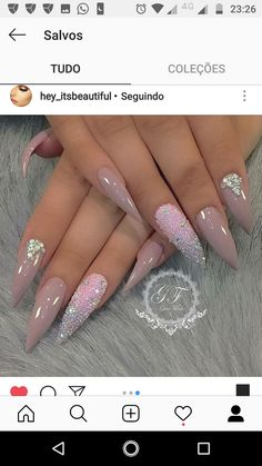 Nude w/crystals on stilettos long nail designs, colorful nail designs, almond acrylic Long Nail Designs, Acrylic Nail Designs, Nail Art Designs, Fancy Nails, Pink Nails, Gorgeous Nails, Pretty Nails, Stiletto Nails, Gel Nails