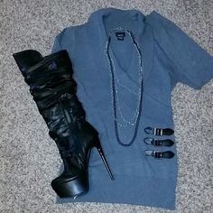 RUE 21 Sweater RUE 21 Sweater with sexy buckes! Gray and Long-sleeved, long length past bottom, EUC, no stains/snags. Very cute casual or dressy, Neck scoop Rue 21 Sweaters Crew & Scoop Necks