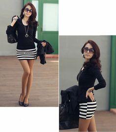 321a0e091ab Cotton Blend Long Sleeve Short Stripes Dresses for Women