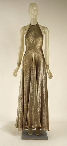 Evening gown (image 2 - underdress front)   Madeleine Vionnet   French   1939   cotton, metallic   Metropolitan Museum of Art   Accession Number: C.I.52.24.2a, b
