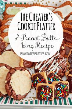 With a little bit of chocolate and this peanut butter icing recipe, you can fool your guests into thinking you spent hours baking delicious cookies! http://playdatesparties.com/2014/12/12-days-of-christmas-cookies-cheating.html