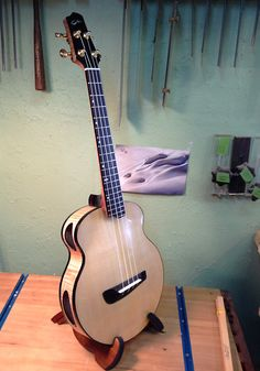A non-conventional archtop uke/mando. New T16 archtop by Mark Roberts of Roberts Guitars & Ukuleles. Features dual tuned side sound ports and soundhole on the soundboard. The combination of the thinness of the top and his hybrid Kasha tonebars allows the top to respond like a speaker. www.roberts-guitars.com