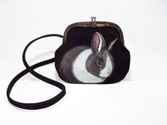 New  Dwarf Dutch Bunny bag  handpainted ooak by NYhop by NYhop, $120.00