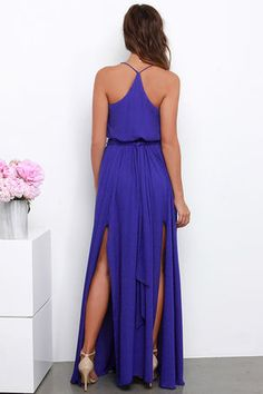 Elegant Indigo Dress - Maxi Dress - Indigo Gown - $97.00