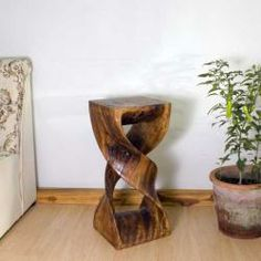 Monkey Pod Wood Walnut Oil-finished Double Twist Stool (Thailand) | Overstock.com Shopping - Big Discounts on Haussmann Stools 26 inches high