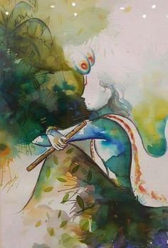 Krishna Art Painting via Lord Krishna Images, Krishna Pictures, Arte Krishna, Krishna Radha, Hanuman, Krishna Painting, Krishna Drawing, Indian Art Paintings, Unique Paintings