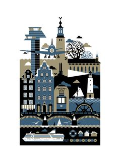 Stockholm by St. Petersburg illustrator Xenia Bystrova