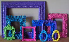 Ornate Open Picture Frames 9 pc. GARDEN PARTY Lime Green Fuschia Cobalt Blue Yellow Aqua Wall Gallery Wedding FUN Colorful Size Variety. $169.00, via Etsy.