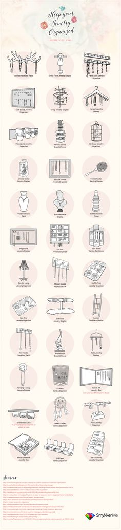 36 Beautiful DIY Jewelry Organizers  [by Smykker -- via #tipsographic]. More at tipsographic.com