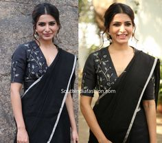 samantha akkineni in black saree at jaanu promotions 3 scaled Traditional Blouse Designs, Simple Blouse Designs, Stylish Blouse Design, Black Saree, Black Cotton Saree, Cotton Saree Blouse Designs, Sleeves Designs For Dresses, Black Linen, Corset Blouse