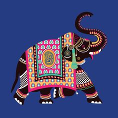 Ornamental Style elephant illustrations for a wedding cards