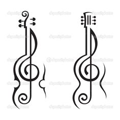 Violin, guitar and treble clef — Stock Vector © alexkava #