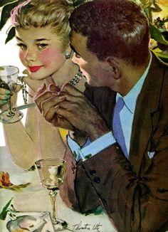 vintage 1950 art illustration romance pinup by FrenchFrouFrou