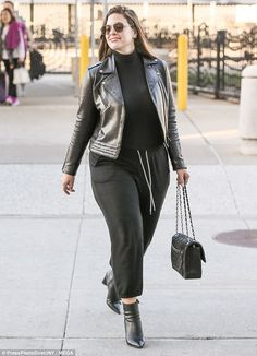 Lovely in leather! Earlier that day the Sports Illustrated Swimsuit Issue stunner was seen at JFK Airport in New York City in a look that was practical and on-trend